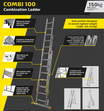 Load image into Gallery viewer, Youngman 3 way extension heavy duty Combination ladder