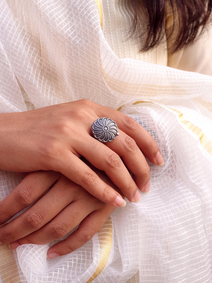 FLORAL SILVER RING (925) - BAUBLE LOVE