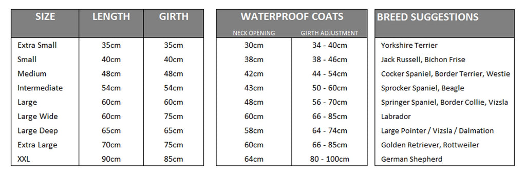Size guide waterproof dog coats