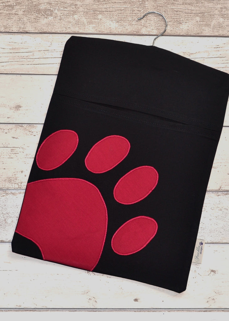 Pawprint Peg Bag - Black/Raspberry