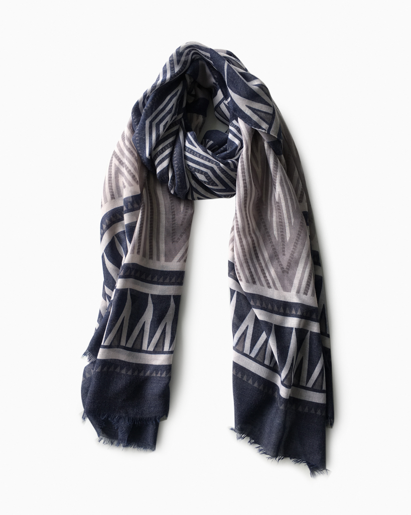 Blue and Grey Aztec Scarf