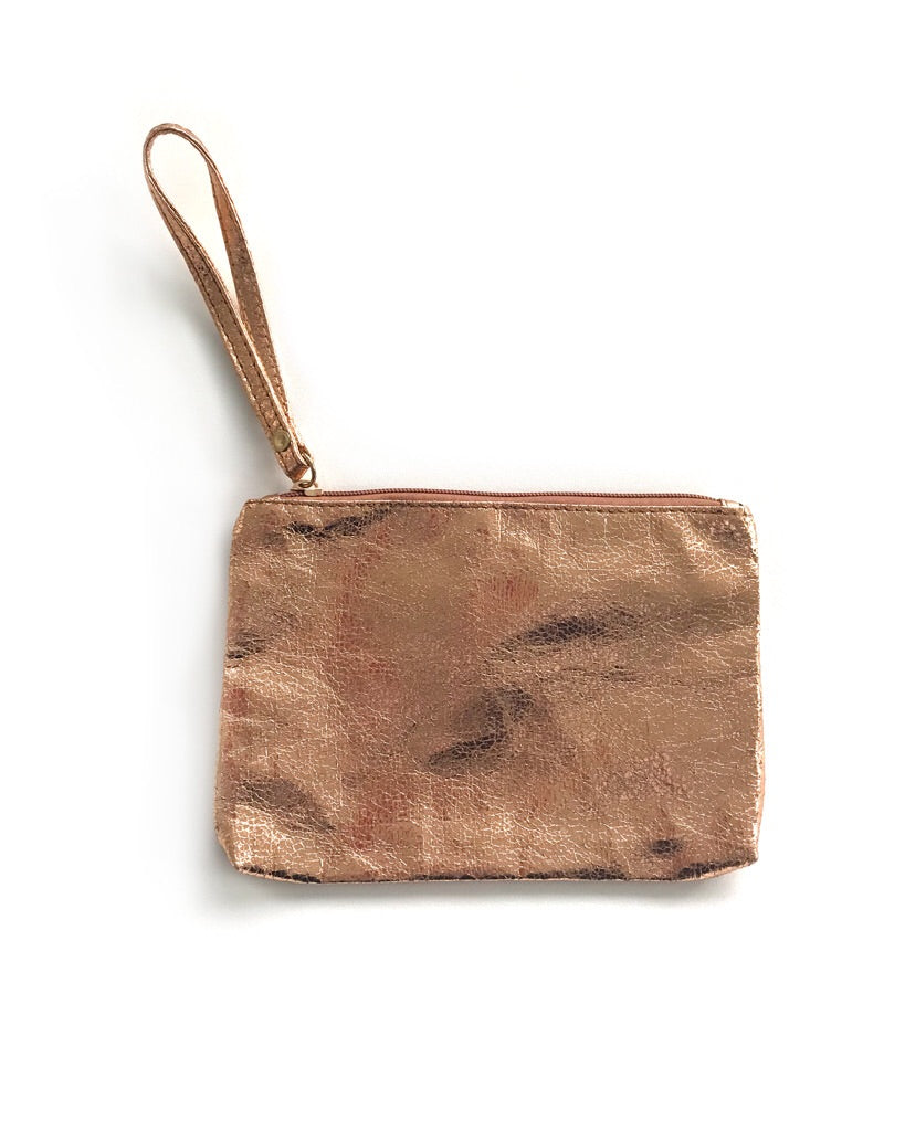 Rose gold make-up bag