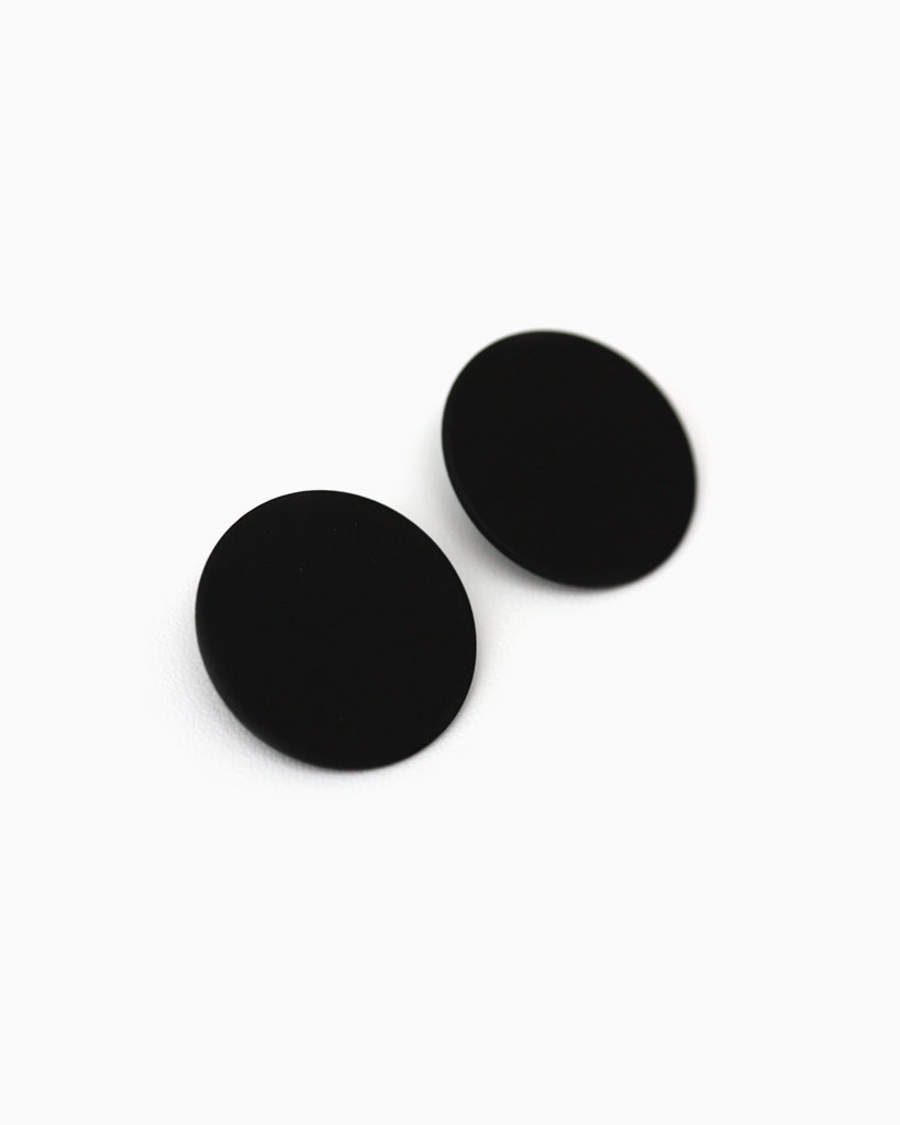 Large Round Statement Studs Black