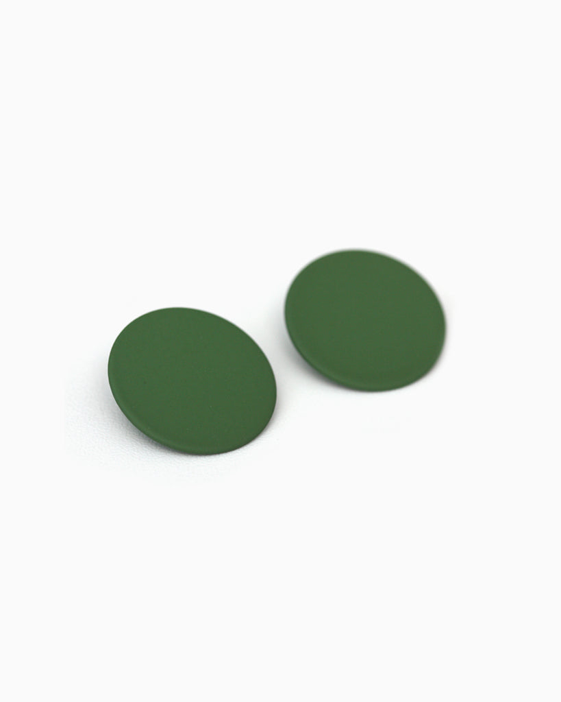 Large Round Statement Studs Green