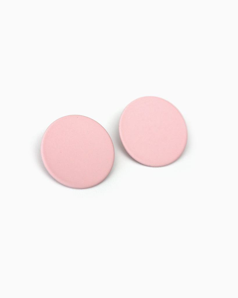 Large Round Statement Studs Pink