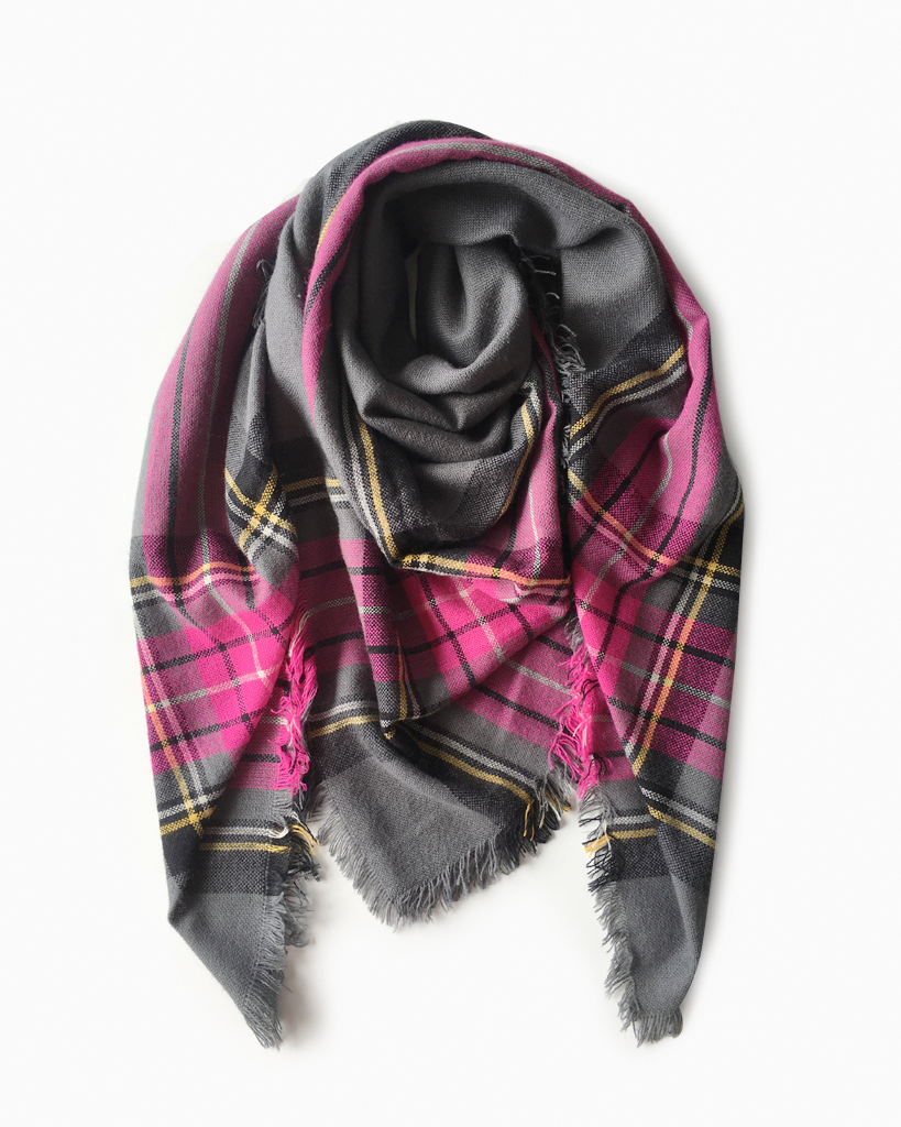 Pink and Charcoal Scarf
