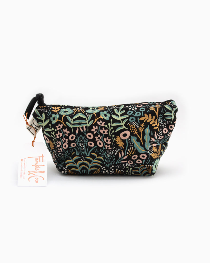Tabor Cosmetic Accessory Bag in Midnight Metallic Garden