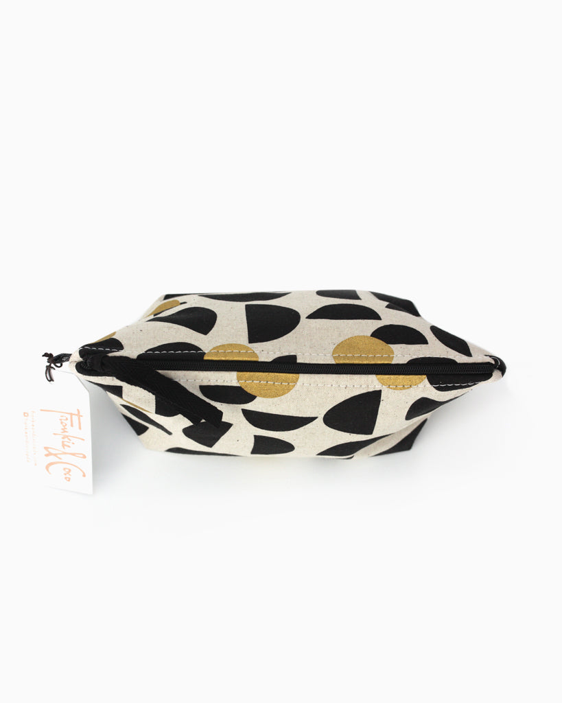 Tabor Cosmetic Accessory Bag Half Moons Black and Gold