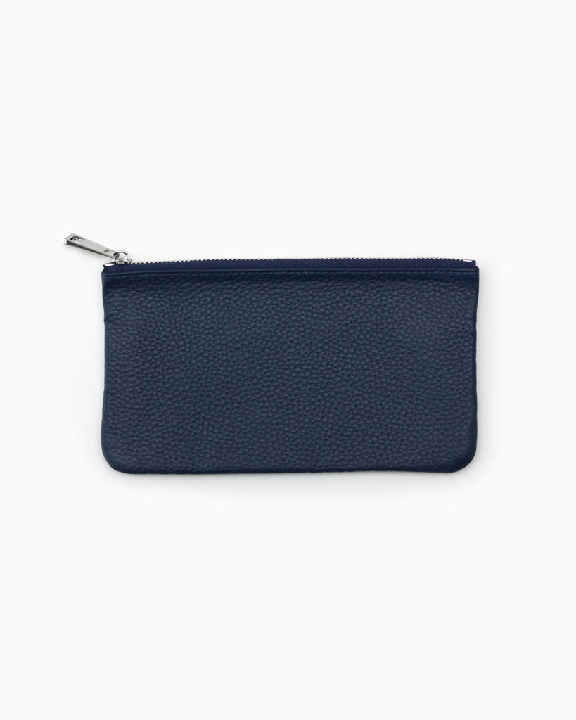 Simple zip purse blue