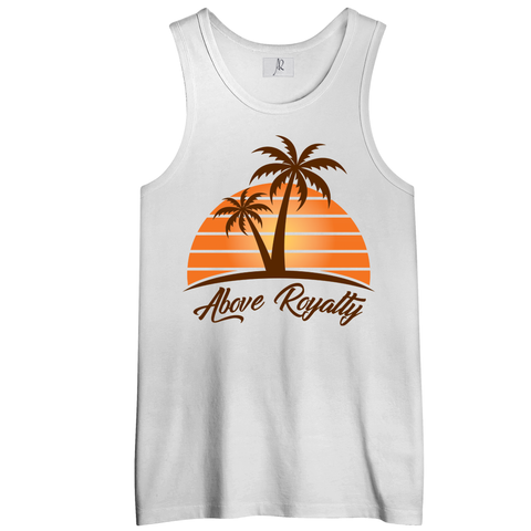 Sunset Men's Tank Top Shirt  - White