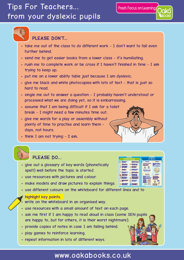 Tips for Teachers....direct from their dyslexic pupils