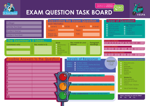Exam Question Task Board by Dr Susie Nyman
