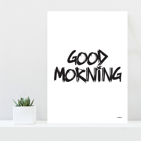 Grafisk plakat - graphic design poster - white black - good morning - posterboy.dk