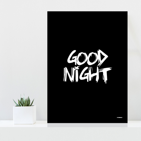 Grafisk plakat - graphic design poster - black white - good night - posterboy.dk