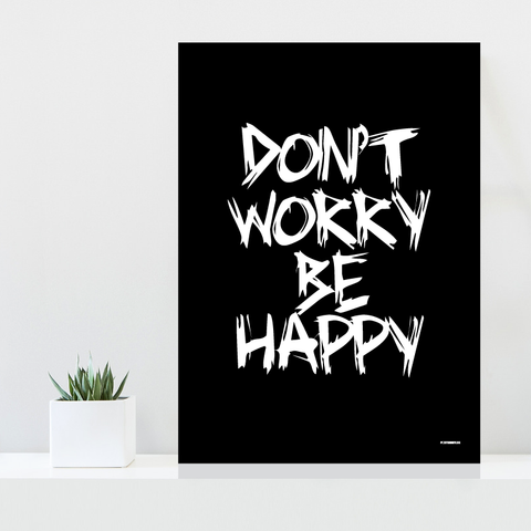 Grafisk plakat - graphic design poster - black white happy - posterboy.dk