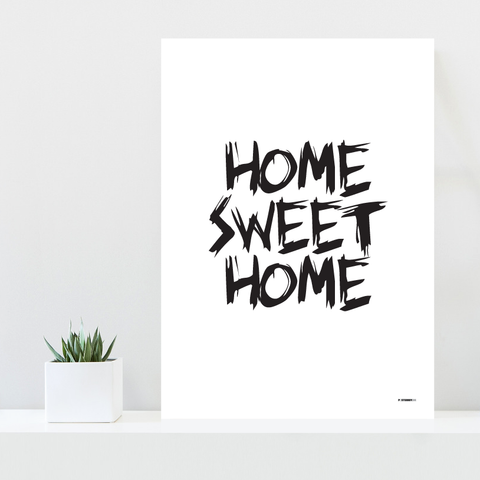 Grafisk plakat - graphic design poster - white black home sweet home - posterboy.dk