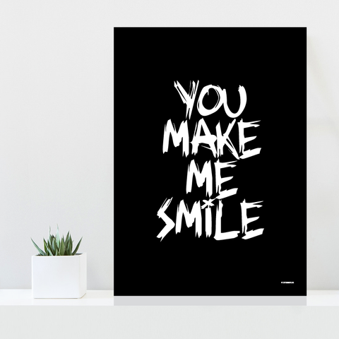 Grafisk plakat - graphic design poster - white black smile - posterboy.dk