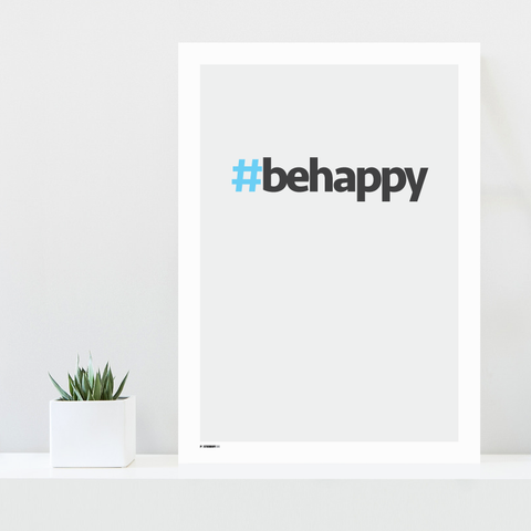 Grafisk plakat - graphic design poster - be happy - posterboy.dk