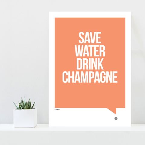 Grafisk plakat - graphic design poster - orange white qoute - champagne - posterboy.dk