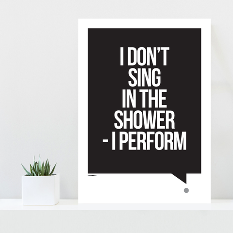 Grafisk plakat - graphic design poster - sort hvid plakat med tekst - shower