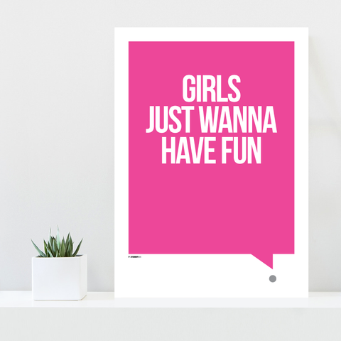 Grafisk plakat - graphic design poster - pink white qoute - fun - posterboy.dk