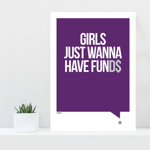 Grafisk plakat - graphic design poster - purple white qoute - funds - posterboy.dk