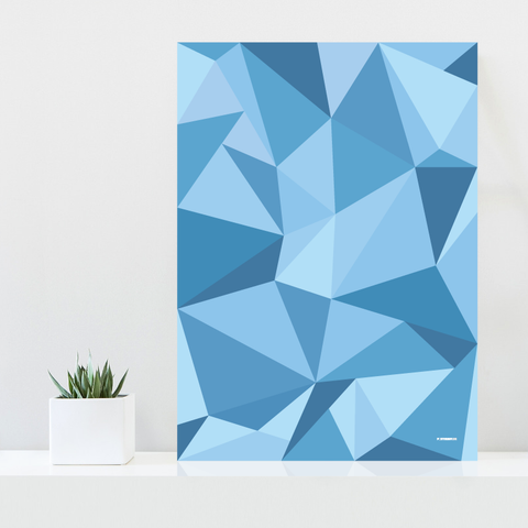 Grafisk plakat - graphic design poster - blue polygon - fifty shades of blue - posterboy.dk