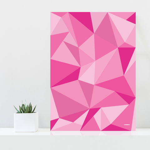 Grafisk plakat - graphic design poster - pink polygon - fifty shades of pink - posterboy.dk