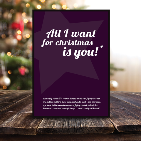 Grafisk plakat - graphic design poster - all I want for christmas star - posterboy.dk
