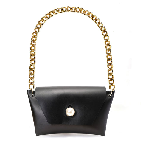 SINDY EVENING BAG IN BLACK LEATHER