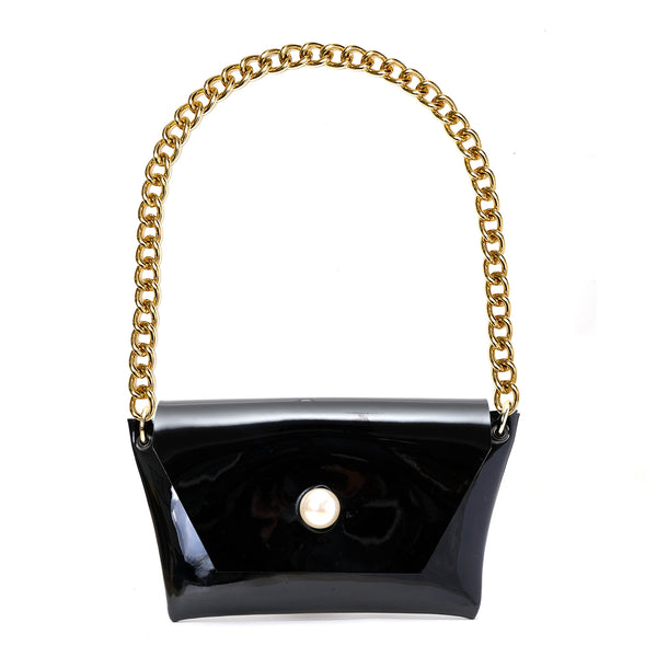 SINDY EVENING BAG IN BLACK PATENT LEATHER
