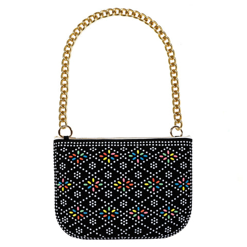PLAY PURSE BLACK BEADED BAG WITH CHUNKY CHAIN