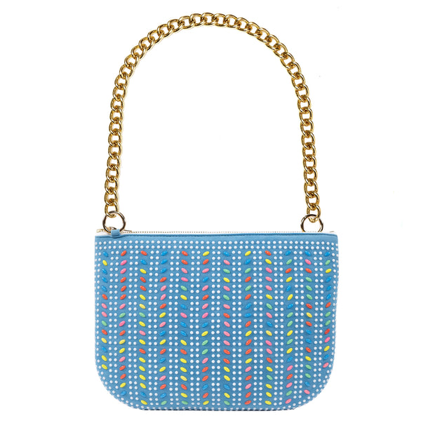 PLAY PURSE BLUE BEADED BAG WITH CHUNKY CHAIN