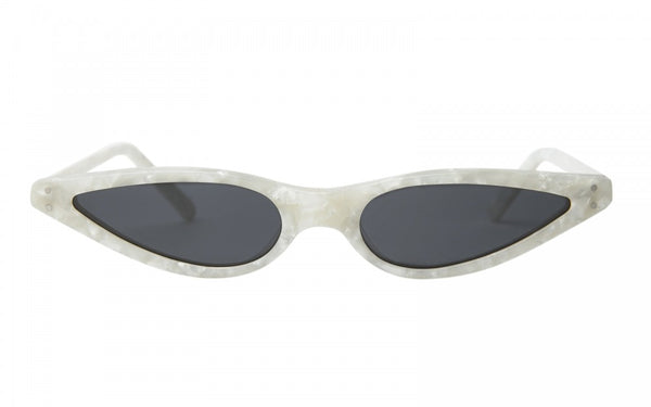 GEORGE KEBURIA PEARL WHITE MICRO CAT EYE SUNGLASSES