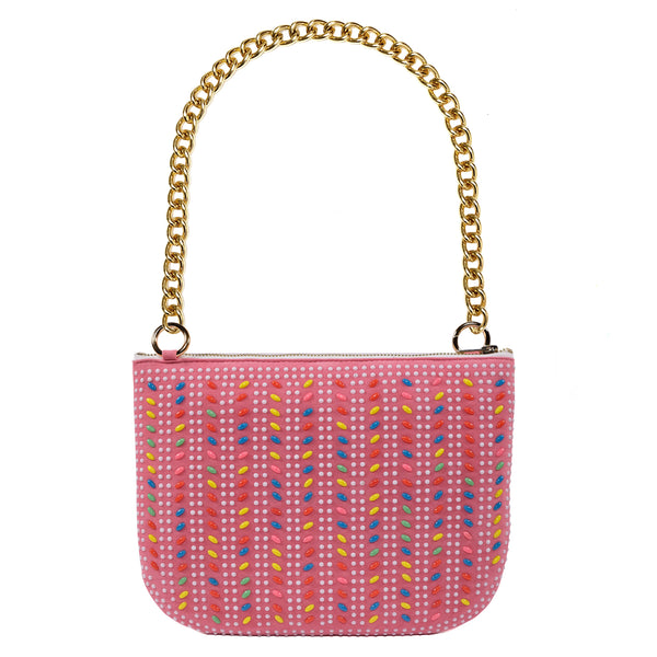 PLAY PURSE PINK BEADED BAG WITH CHUNKY CHAIN