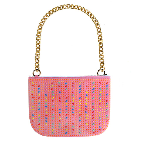 PLAY PURSE PINK BEADED BAG WITH DAY-GLO BEADS AND CHUNKY CHAIN