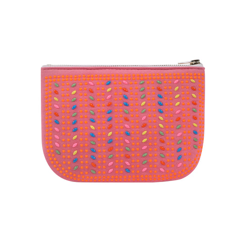 PLAY PURSE BEADED POUCH PINK with NEON ORANGE BEADS