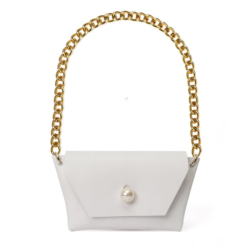 SINDY EVENING BAG IN WHITE LEATHER