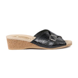 WORISHOFER 251 BLACK LEATHER SLIDE SANDALS