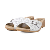 WORISHOFER 251 WHITE LEATHER SLIDE SANDALS