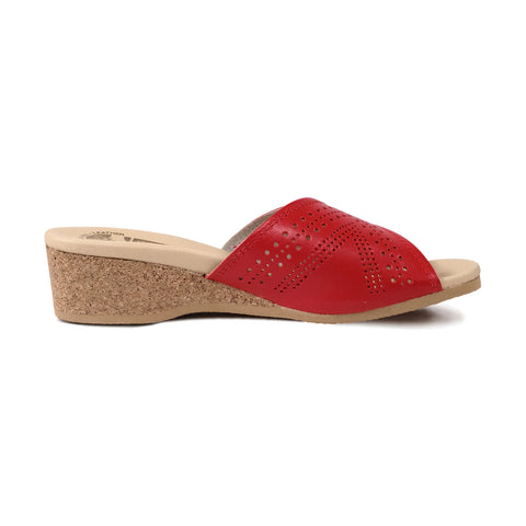 WORISHOFER 251 RED LEATHER SLIDE SANDALS