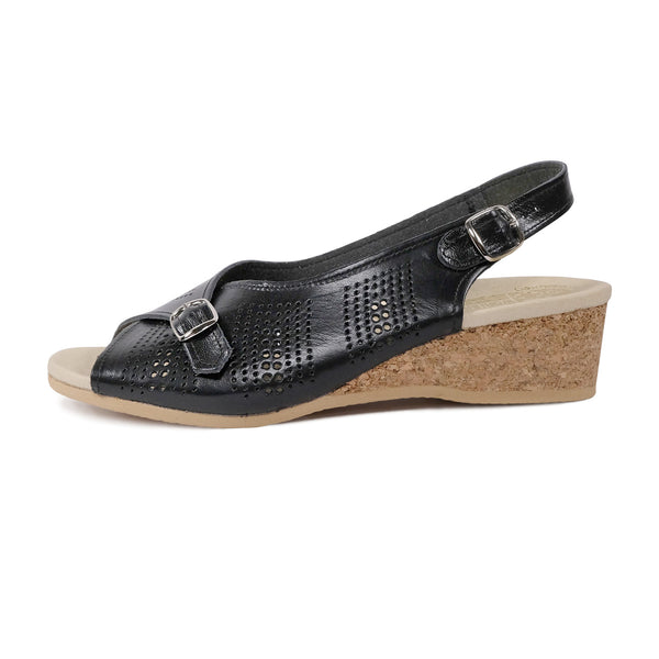 WORISHOFER 562 BLACK LEATHER SLINGBACK SANDALS