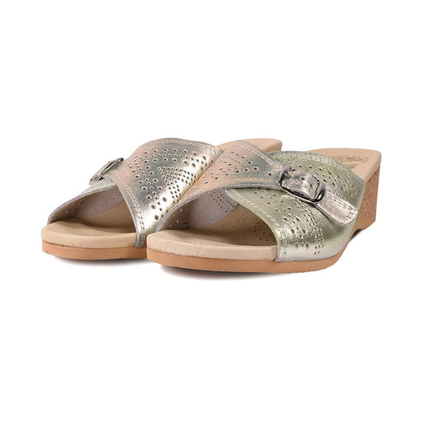 WORISHOFER 251 GOLD LEATHER SLIDE SANDALS