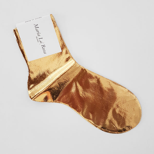 METALLIC COATED GOLD SILK-BLEND SOCKS BY MARIA LA ROSA