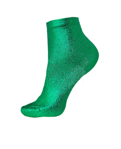 METALLIC COATED GREEN SILK-BLEND SOCKS BY MARIA LA ROSA