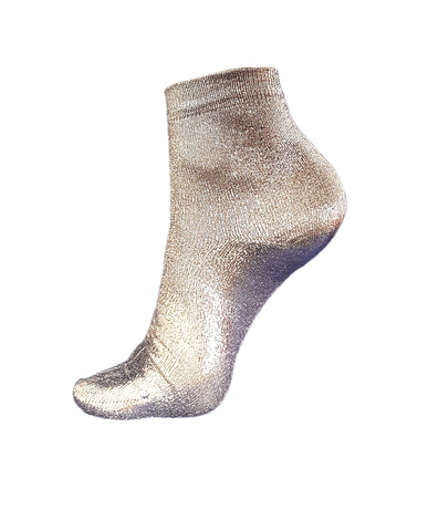 METALLIC COATED SILVER SILK-BLEND SOCKS BY MARIA LA ROSA