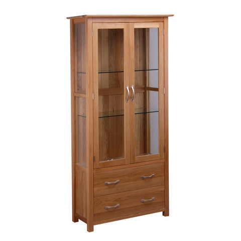 New Oak Glazed Display Cabinet
