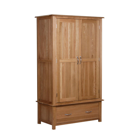 New Oak Double Wardrobe With Drawer