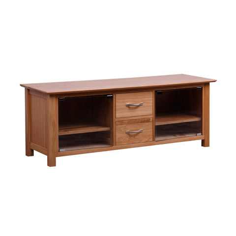 New Oak Large TV Unit With Glass Doors
