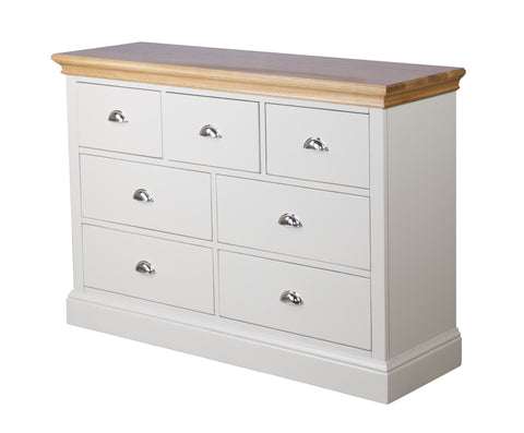 Painted Oak 3 Over 4 Wide Chest Of Drawers